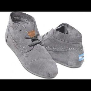 TOMs gray suede booties